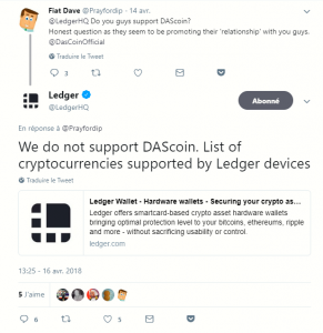 Ledger does not support DasCoin