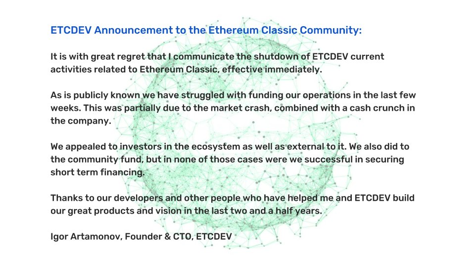 Etc devs shut down
